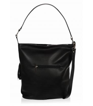 Čierna kabelka s bočnými zipsami a čiernym príveskom V18SM401