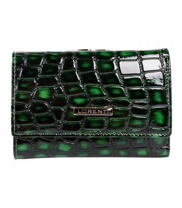 Női zöld lakkozott pénztárca LORENTI 0215 GREEN mintával