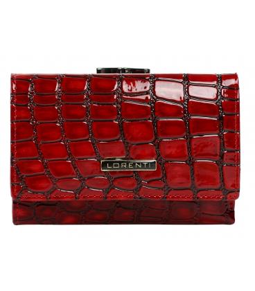 Dámska výrazná červená lakovaná peňaženka s čiernym vzorom LORENTI 0222 RED