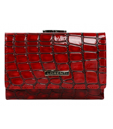 Női jellegzetes piros lakkozott pénztárca fekete mintával LORENTI 0222 RED