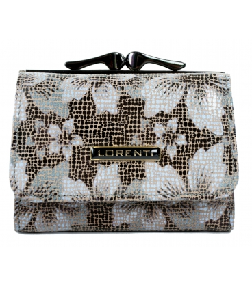 Dámska krémovo čierna peňaženka s potlačou kvetín 9936 BROWN