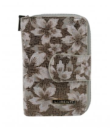 Dámska menšia krémovo čierna peňaženka s potlačou kvetín 9974 BROWN