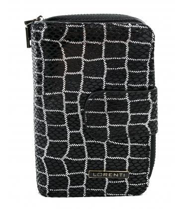 Dámská menší černobílá peněženka s potiskem 9967 BLACK