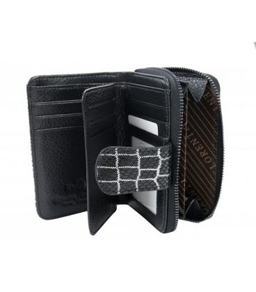 Dámska menšia čierno-biela peňaženka s potlačou 9967 BLACK
