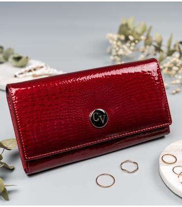 Női piros, fényes pénztárca CAVALDI mintával