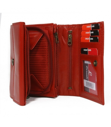 Dámska červená jednoduchá penženka s bielym prešitím lorenti