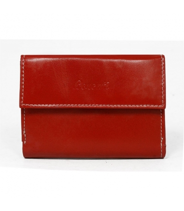 Dámská červená jednoduchá penženka s bílým prošitím Lorente