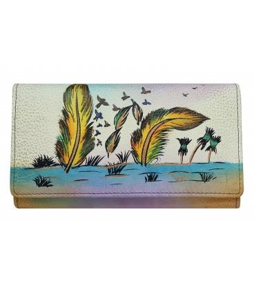 Dámská barevná penženka s kresbou pírek Rovickyart