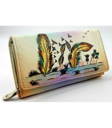 Dámska farebná penženka s kresbou pierok Rovickyart
