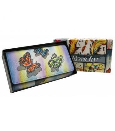 Dámska farebná penženka s kresbou motýľa Rovickyart