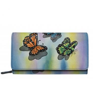 Dámská barevná penženka s kresbou motýla Rovickyart