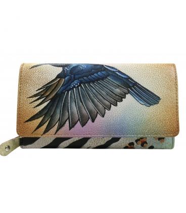 Dámska farebná penženka s kresbou vtáka Rovickyart