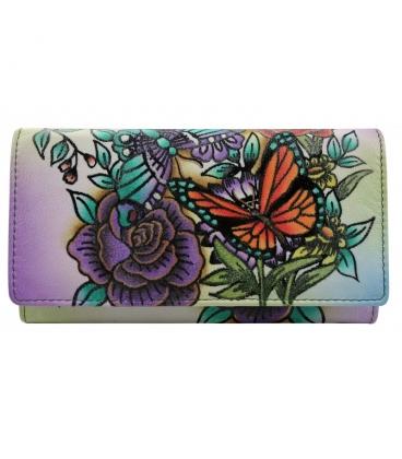 Dámská barevná penženka s kresbou kvetín Rovickyart