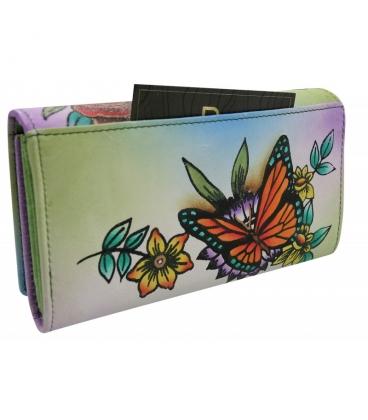 Dámska farebná penženka s kresbou kvetín Rovickyart