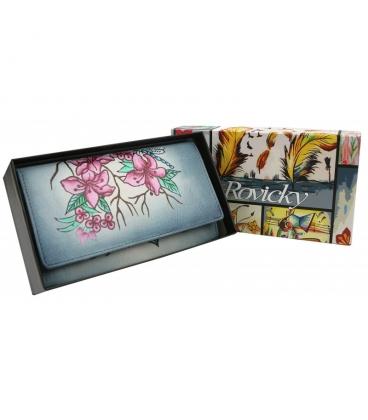 Dámska farebná penženka s kresbou kvetín a vážky Rovickyart