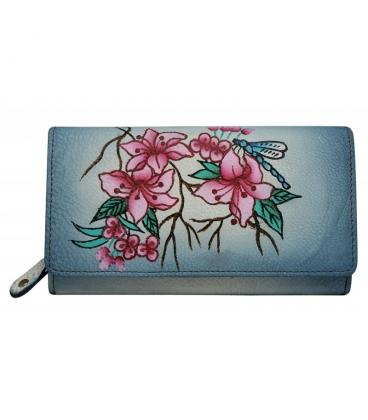 Dámská barevná penženka s kresbou květin a vážky Rovickyart