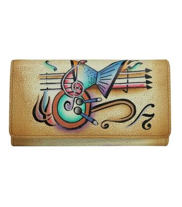 Dámská barevná penženka s kresbou hudebnin Rovickyart