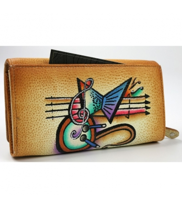 Dámska farebná penženka s kresbou hudobnín Rovickyart