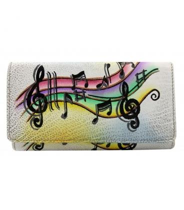 Dámská barevná penženka s kresbou not Rovickyart