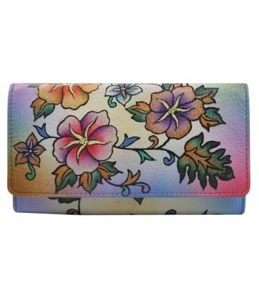 Dámská barevná penženka s kresbou divokých květin Rovickyart