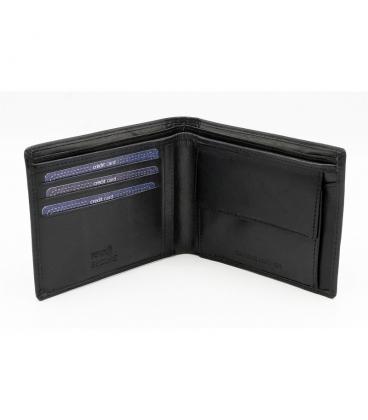 Darčekový set: Pánska kožená čierna priestranná peňaženka+ pánsky čierny opasok ROVICKY