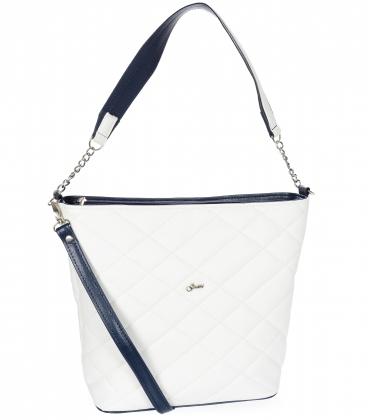 Bílo-modrá crossbody kabelka s diamantovým vzorem S21C003white