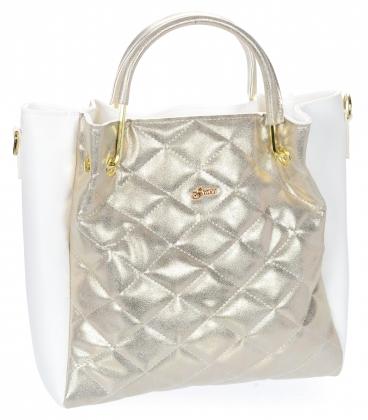 Bílo zlatá elegantní kabelka V21SM001GLD- GROSSO