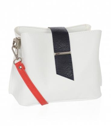 Bílo-modrá crossbody kabelka s červeným ramínkem CS0003whiteblue