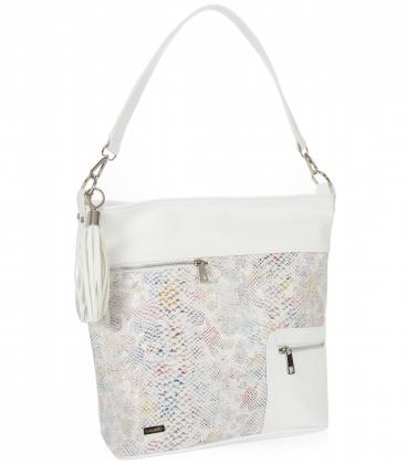Bílá kabelka s barevným vzorem a přívěskem 21V0004whitecolor