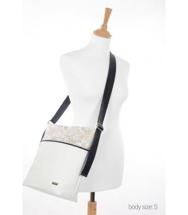 Bielo-čierna crossbody kabelka s farebným vzorom S21C004white