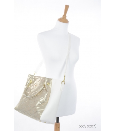 Bielo zlatá elegantná kabelka V21SM001GLD- GROSSO