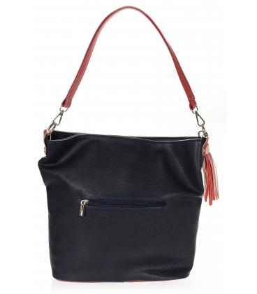 Bielo modrá kabelka s červeným ramienkom a príveskom 21V0002white