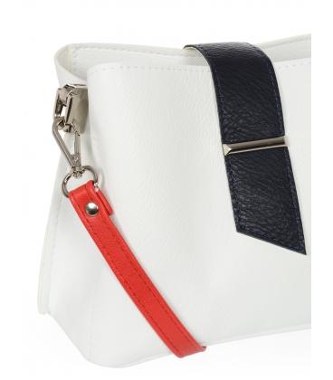 Bielo-modrá crossbody kabelka s červeným ramienkom CS0003whiteblue
