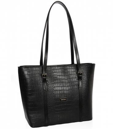 Čierna kabelka s kroko vzorom a dlhými rúčkami 19V015black- Grosso
