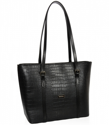 Velká černá shopper kabelka s kroko vzorem a dlouhými ručkami 19V015brwn- Grosso