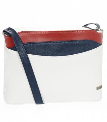 Bielo-modro-červená elegantná crossbody kabelka s ozdobným lemom KMM111