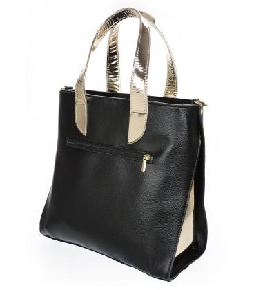 Černo zlatá elegantní kabelka se vzorem V18SM101- GROSSO