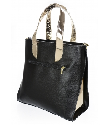 Čierno- zlatá elegantná kabelka so vzorom V18SM101- GROSSO