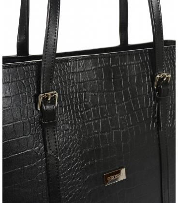 Nagy fekete shopper kézitáska kroko mintával és hosszú fogantyúkkal 19V015b- Grosso