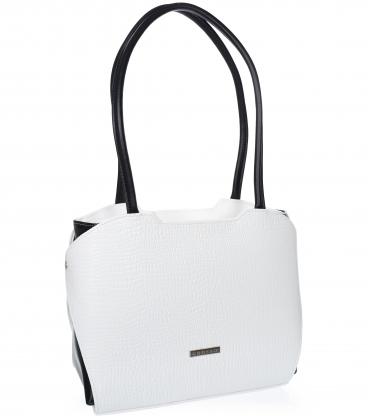 Fehér-fekete megerősített kézitáska lépcsős mintával és hosszú hevederekkel 19V0010- Grosso