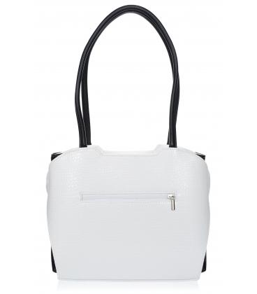 Bielo čierna vystužená kabelka s kroko vzorom a dlhými ramienkami 19V0010- Grosso