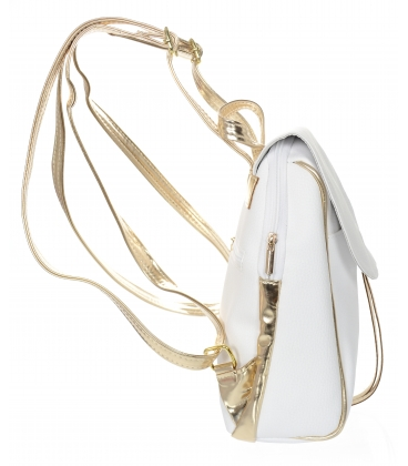 Bielo- zlatý hladký ruksak 20B001white