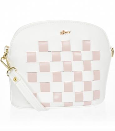 Bílá crossbody kabelka s růžovým šachovnicovým prošíváním M200 - GROSSO