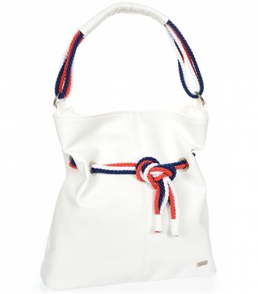 Biela kabelka so bielo-modro-červeným previazaním V18SM050wht - GROSSO