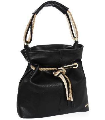 Černá kabelka s béžovým provázáním V18SM050blck - GROSSO