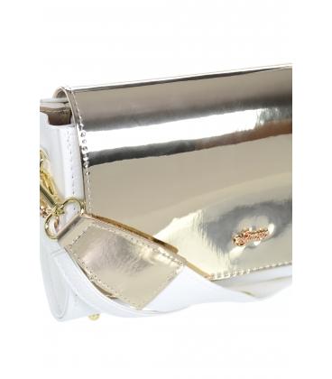 Vystužená lesklá bielo-zlatá crossbody kabelka M201 - GROSSO