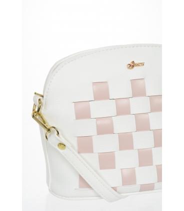 Biela crossbody kabelka s ružovým šachovnicovým prešívaním M200 - GROSSO