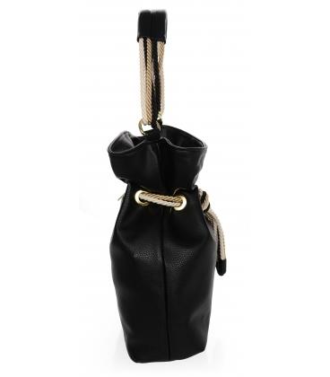 Fekete kézitáska, bézs színű kötéssel V18SM050blck - GROSSO