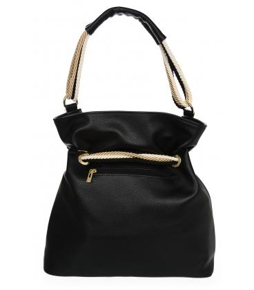 Čierna kabelka s béžovým previazaním V18SM050blck - GROSSO