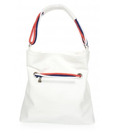 Bílá kabelka se bílo-modro-červeným provázáním V18SM050wht - GROSSO